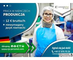 Pracownik produkcji (k/m) bez znajomości języka - nawet do 12,50 € brutto/h!